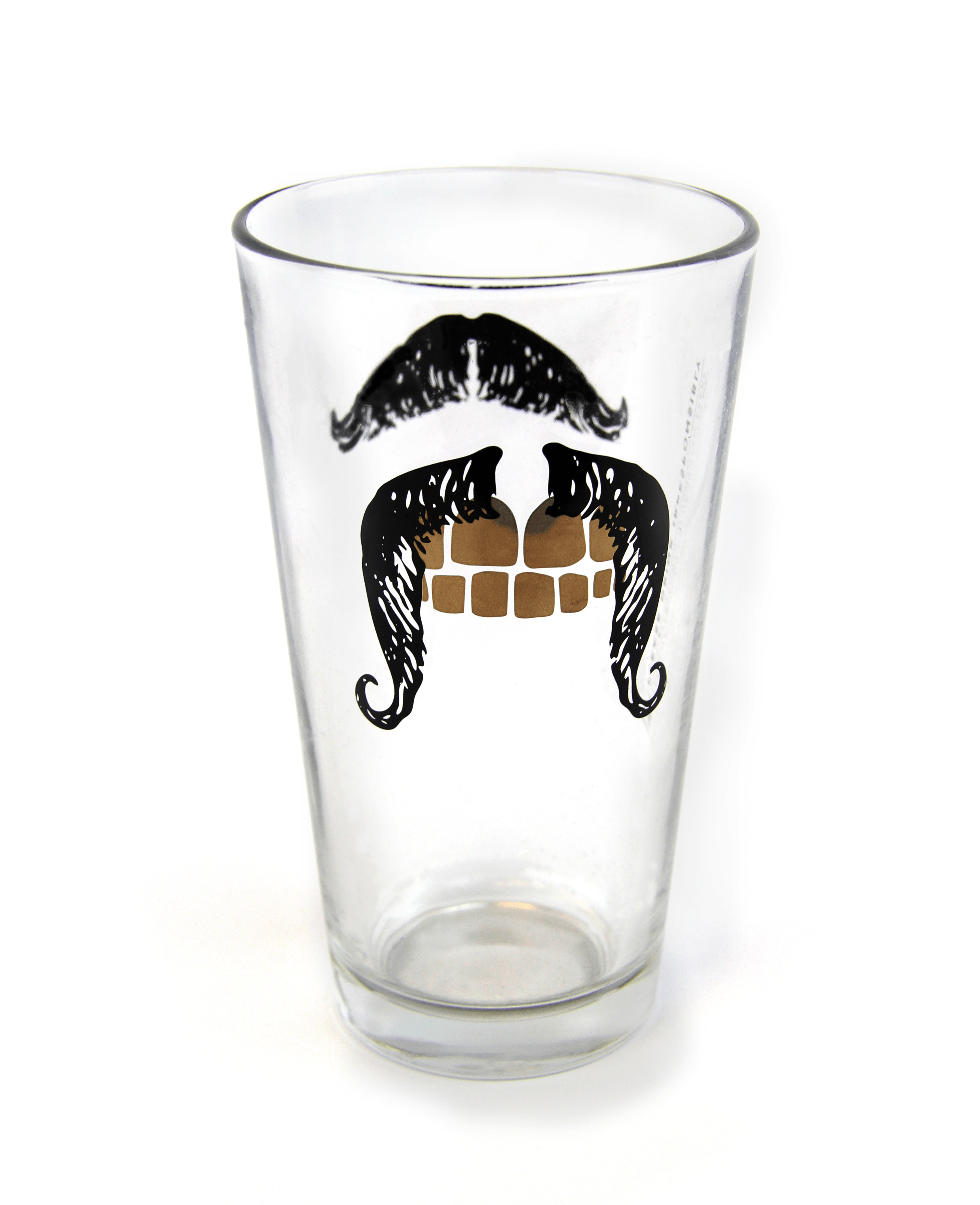 promotional products-screenprinted- mustache pint glass-brewery-custom-pint-logo
