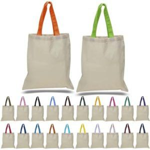 6oz Canvas Tote with Colors Handles