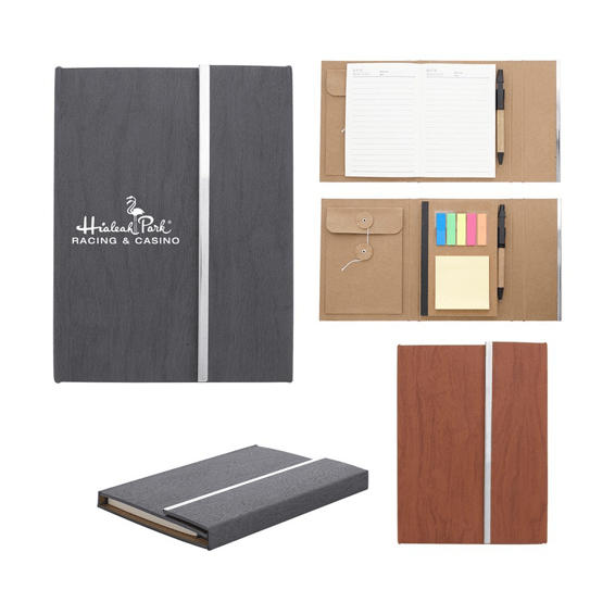 Custom Printed Corporate Logo Branded Promotional Stick Notes Pads Seattle: Woodgrain Padfolio