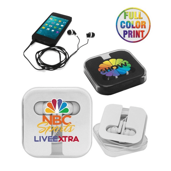 Custom Promotional Branded Corporate Logo Earbuds Seattle: Storage Case Full Color