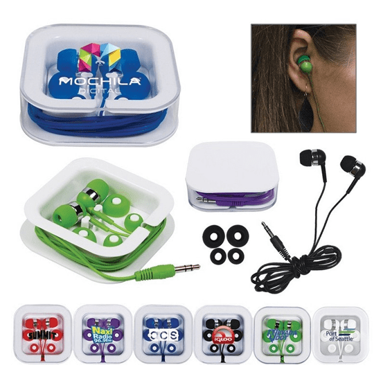 Custom Promotional Branded Corporate Logo Earbuds Seattle: Storage Case