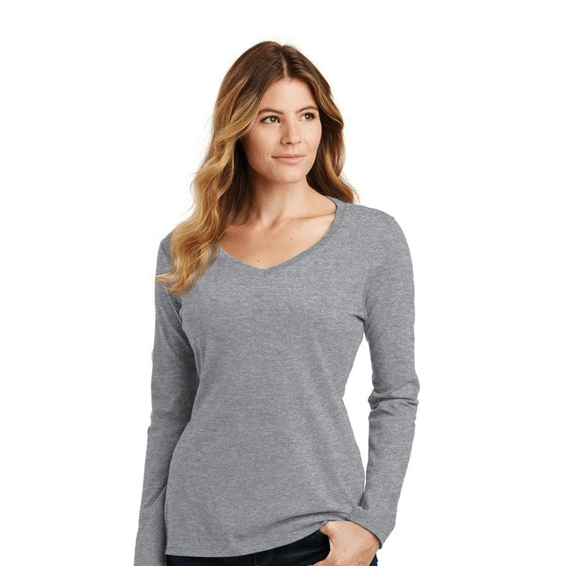 Custom Screen Printed Corporate Logo T-Shirts Seattle: Port & Company Long Sleeve V Neck Ladies