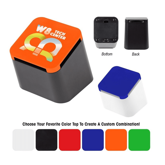 Custom Printed Corporate Logo Speaker Seattle: Slanted Cube Wireless Bluetooth