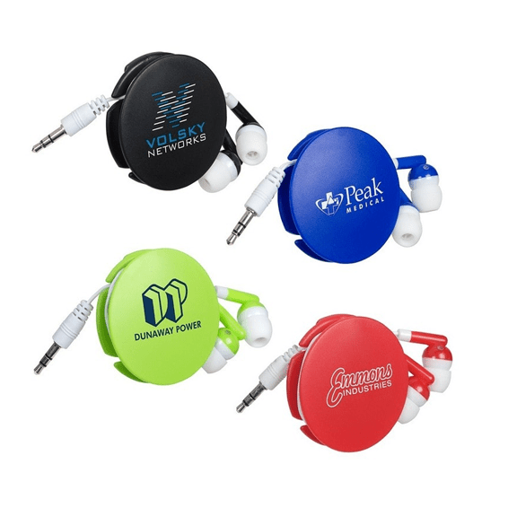 Custom Promotional Branded Corporate Logo Earbuds Seattle: Storage Disk Retractor