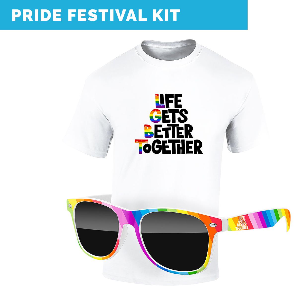 virtual pride festival kit includes custom printable t-shirt and rainbow sunglasses